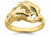 Finejewelers 14k Yellow Gold Double Dolphins Swimming Ring style: R826