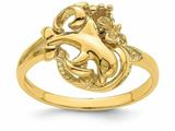 Finejewelers 14k Yellow Gold Single Dolphin And Plumeria In Wave Ring style: R827