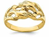 Finejewelers 14k Yellow Gold Double Dolphins Swimming Nose To Tail Ring style: R831