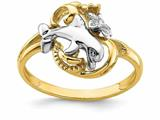 Finejewelers 14k White Dolphin And Plumeria with Yellow Wave Ring style: R841