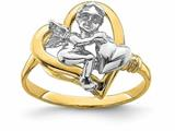 Finejewelers 14k White Cherub Holding Heart In Yellow Ring style: R854