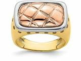 Finejewelers 14k Yellow Gold Pink Quilted Top In White Frame Dome Ring style: R908