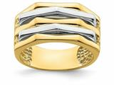Finejewelers 14k Yellow Gold Five Ridge Peak Alternating White And Ring style: R920