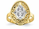 Finejewelers 14k Yellow Gold Oval Shield with Double Hearts Two-color Rings style: R937