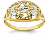 Finejewelers 14k Yellow Gold Oval Filigree Wwithht Bright Cut Leaves (set) Rings style: R939