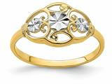 Finejewelers 14k Yellow Gold Bright Cut White Circles with Scalloped Edge Rings style: R940