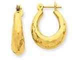 14k Hammered Fancy Hollow Hoop Earrings style: S1436