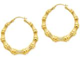 14k Polished Bamboo Hoop Earrings style: S1518