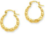 14k Yellow Gold Polished Bamboo Design Hollow Hoop Earrings style: S824