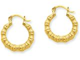 14k Yellow Gold Polished Bamboo Design Hollow Hoop Earrings style: S825
