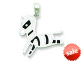 Sterling Silver Resin Zebra Pendant - Chain Included style: QC6568