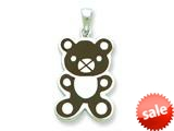 Sterling Silver Resin Teddy Bear Pendant - Chain Included style: QC6573