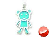 Sterling Silver Resin Blue Monkey Pendant - Chain Included style: QC6577