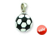Sterling Silver Resin Small Soccerball Pendant - Chain Included style: QC6581
