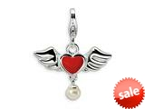 Amore LaVita™ Sterling Silver 3-D Winged Red Heart FW Cult Pearl w/Lobster Bracelet Charm style: QCC122
