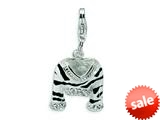 Amore LaVita™ Sterling Silver CZ Polished Enamel Zebra Jacket w/Lobster Clasp Bracelet Charm style: QCC218