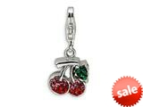 Amore LaVita™ Sterling Silver Polished with Crystal Cherry w/Lobster Clasp Bracelet Charm style: QCC350AL