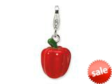 Amore LaVita™ Sterling Silver 3-D Enameled Red Pepper w/Lobster Clasp Bracelet Charm style: QCC356