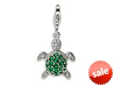 Amore LaVita™ Sterling Silver Green and Clear CZ Turtle w/Lobster Clasp Bracelet Charm style: QCC382