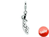 Amore LaVita™ Sterling Silver Enameled Sword w/Lobster Clasp Bracelet Charm style: QCC470