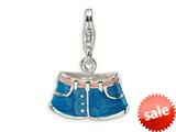 Amore LaVita™ Sterling Silver 3-D Enameled Blue Jean Shorts w/Lobster Clasp Bracelet Charm style: QCC483