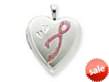 925 Sterling Silver 20mm Enameled Awarness Design Heart Locket Necklace - Chain Included style: QLS245