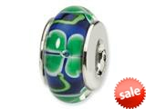 Reflections™ Sterling Silver Blue with Clover Hand-blown Glass Bead / Charm style: QRS1287