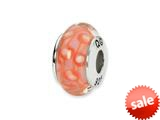 Reflections™ Sterling Silver Orange/White Hand-blown Glass Bead / Charm style: QRS1295