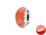 Reflections™ Sterling Silver Orange/White Scribbles Hand-blown Glass Bead / Charm style: QRS1298