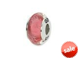 Reflections™ Sterling Silver Pink/White Scribbles Glass Bead / Charm style: QRS1299