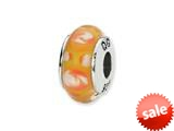 Reflections™ Sterling Silver Yellow/Orange Hand-blown Glass Bead / Charm style: QRS1301
