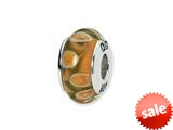 Reflections™ Sterling Silver Orange/Green Hand-blown Glass Bead / Charm style: QRS1303