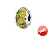 Reflections™ Sterling Silver Yellow/Red Floral Hand-blown Glass Bead / Charm style: QRS1310