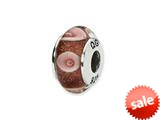 Reflections™ Sterling Silver Pink Circles Hand-blown Glass Bead / Charm style: QRS1315
