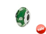Reflections™ Sterling Silver Green/White Floral Hand-blown Glass Bead / Charm style: QRS1321