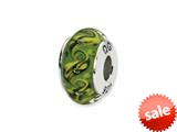 Reflections™ Sterling Silver Green/Yellow Swirl Hand-blown Glass Bead / Charm style: QRS1323