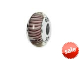 Reflections™ Sterling Silver White/Mauve Hand-blown Glass Bead / Charm style: QRS1332