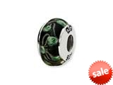 Reflections™ Sterling Silver Black/Green Pentagon Shaped Hand-blown Bead / Charm style: QRS1336