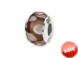 Reflections™ Sterling Silver Purple/White Square Shaped Hand-blown Bead / Charm style: QRS1342