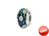 Reflections™ Sterling Silver Blue/White Floral Hand-blown Glass Bead / Charm style: QRS1362