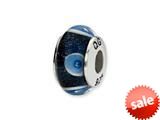 Reflections™ Sterling Silver Blue/White Circles Hand-blown Glass Bead / Charm style: QRS1368
