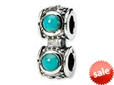 Reflections™ Sterling Silver Light Blue Color CZ Connector Bead / Charm style: QRS147