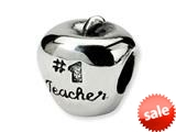 Reflections™ Sterling Silver #1 Teacher on Apple Bead / Charm style: QRS1657