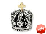 Reflections™ Sterling Silver with a 14k accent Crown Bead / Charm style: QRS325