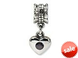 Reflections™ Sterling Silver Smokey CZ Heart Dangle Bead / Charm style: QRS549