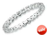 Stackable Expressions Sterling Silver White Topaz Stackable Ring style: QSK353