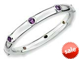 Stackable Expressions Sterling Silver Simulated Amethyst Stackable Ring style: QSK375