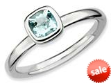 Stackable Expressions Sterling Silver Cushion-Cut Aquamarine Stackable Ring style: QSK448