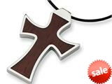 Chisel Stainless Steel Leather Cord Wood Cross Necklace style: SRN116
