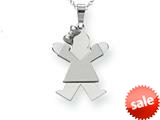 The Kids® Small Girl with Bow on Left Engraveable Charm / Pendant Necklace style: XK305